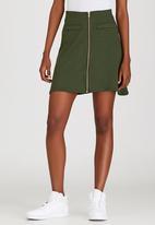 c(inch) - Zip Mini Skirt Dark Green