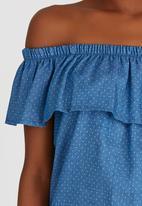 c(inch) - Frill Bardot Top Blue