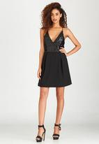 London Hub - Sequin Bodice Dress Black
