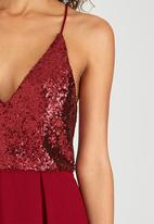 London Hub - Sequin Bodice Dress Red