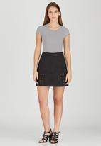 Brave Soul - Side Tie Detail Suede-like Skirt Black