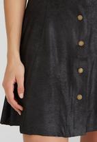 Brave Soul - Antique Suede-like Button Skirt Black