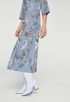 MANGO - Floral Shirt Dress Navy