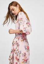 MANGO - Floral chiffon dress -  pink