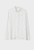 MANGO - Printed Shirt White