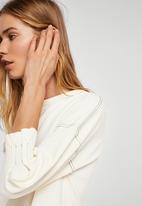 MANGO - Contrast Seam Dress Off White
