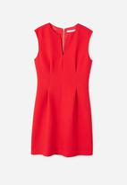 MANGO - Ani V-neckline Dress Red