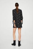 MANGO - Sleeve Knotted Dress Black