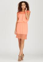 ONLY - Short Sleeve Blouson Dress Coral