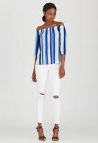 Sassoon - Sunday Blues Striped Off-the-shoulder Top Mid Blue
