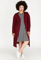 edit Plus - Longer Length Knit Cardigan Dark Red