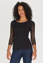 Sensation - Lace Sleeve Top Black