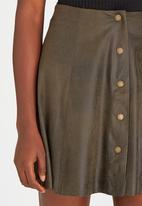 Brave Soul - Antique Suede-like Button Skirt Khaki Green