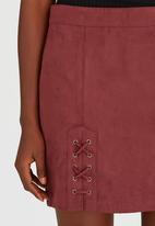 Brave Soul - Side Tie Detail Suede-like Skirt Dark Red