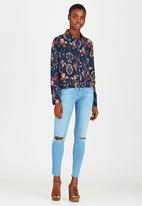 Brave Soul - All Over Printed Shirt Navy