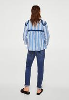 MANGO - Striped Embroidery Blouse Blue
