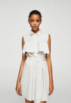 MANGO - Frilled belt dress - grey