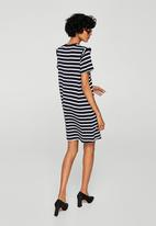 MANGO - Striped Ruffle Dress Navy