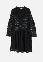 MANGO - Lace Mini Dress Black