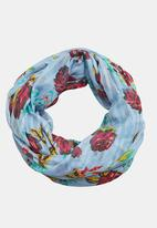 MANGO - Floral Print Scarf Blue