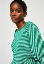 MANGO - Stripe Pattern Sweater Green