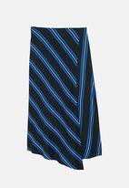 MANGO - Striped Asymmetric Skirt Blue