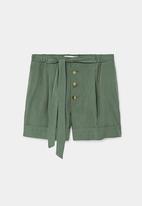 MANGO - Front Tie Detail Shorts Khaki Green