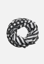 MANGO - Stripes Lightweight Scarf Black