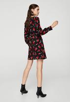 MANGO - Printed Wrap Dress Red