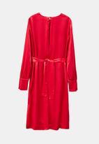 MANGO - Wrapped Satin Dress Red