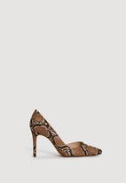 MANGO - Melania Snake-finish Heels Brown
