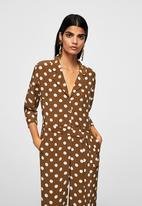 MANGO - Polka-dot long jumpsuit brown