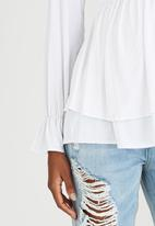 edit Maternity - Double Layer Knit Top White