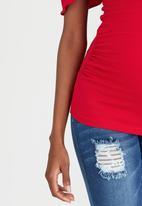 edit Maternity - Off-Shoulder Frill Top Red
