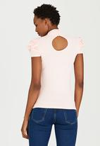 edit - Turtleneck Top with Gauged-sleeve Detail Pale Pink