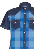 SOVIET - Denim Shirt With Check Print Blue