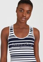 SISSY BOY - Natalina Stripe Vest with Crochet Motif Blue and White