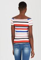 SISSY BOY - Kacey-Leigh Striped Off-the-shoulder Tee Blue and White
