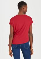 edit - Tie-front T-shirt Red