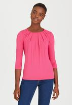 edit - Pleated Front Top Cerise Pink