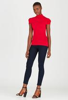 edit - Turtleneck Top with Gauged-sleeve Detail Red