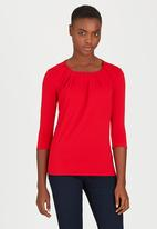 edit - Pleated Front Top Dark Red