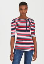 SISSY BOY - Kaie Striped Tee with Lace-up Detail Blue and White
