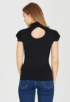 edit - Turtleneck Top with Gauged-sleeve Detail Black