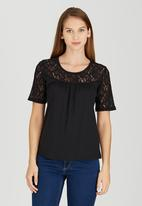 edit - T-shirt with Lace Inset Black