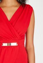 edit - Knit Sleeveless Top with Trim Dark Red