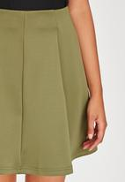 c(inch) - Fit and Flare Mini Skirt Dark Green