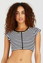 PIHA - Short Sleeve Zip Crop Black and White
