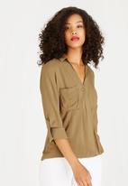 STYLE REPUBLIC - Wrap Shirt Dark Green