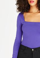 STYLE REPUBLIC - Square Neck Bodysuit Dark Purple